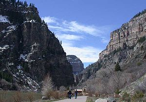 View down Glenwood Canyon at Hanging Lake Rest...
