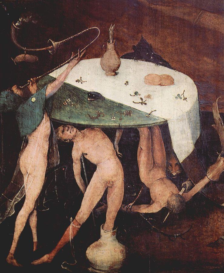 parte del trittico delle tentazioni di sant' Antonio: il tavolo dei lussuriosi