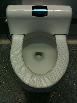 English: High-tech toilet with automated plast...