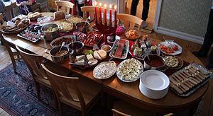 English: Swedish Christmas smörgåsbord in a ho...