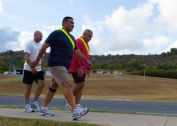 The ???weigh??? he was Camp America commandant loses more than 50 pounds with help from friends Army Sgt. 1st Class Danny Carreras, Sgt. 1st Class Guillermo Santiago and Master Sgt. Orlando Negron of Headquarters and Headquarters Company of 525th Military Police Battalion, walk as part of a daily exercise routine to promote health and lose weight. ??? JTF Guantanamo photo by Army Spc. David McLean