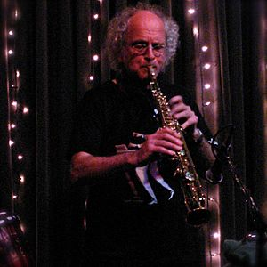 English: Trevor Watts on alto saxophone, perfo...