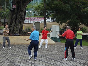 """Tai-chi"" exercises being perfoemed ..."