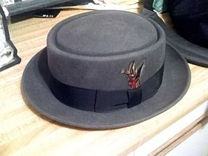 Grey pork pie hat with a band and a feather.