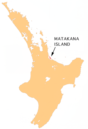 Location map of Matakana Island, New Zealand