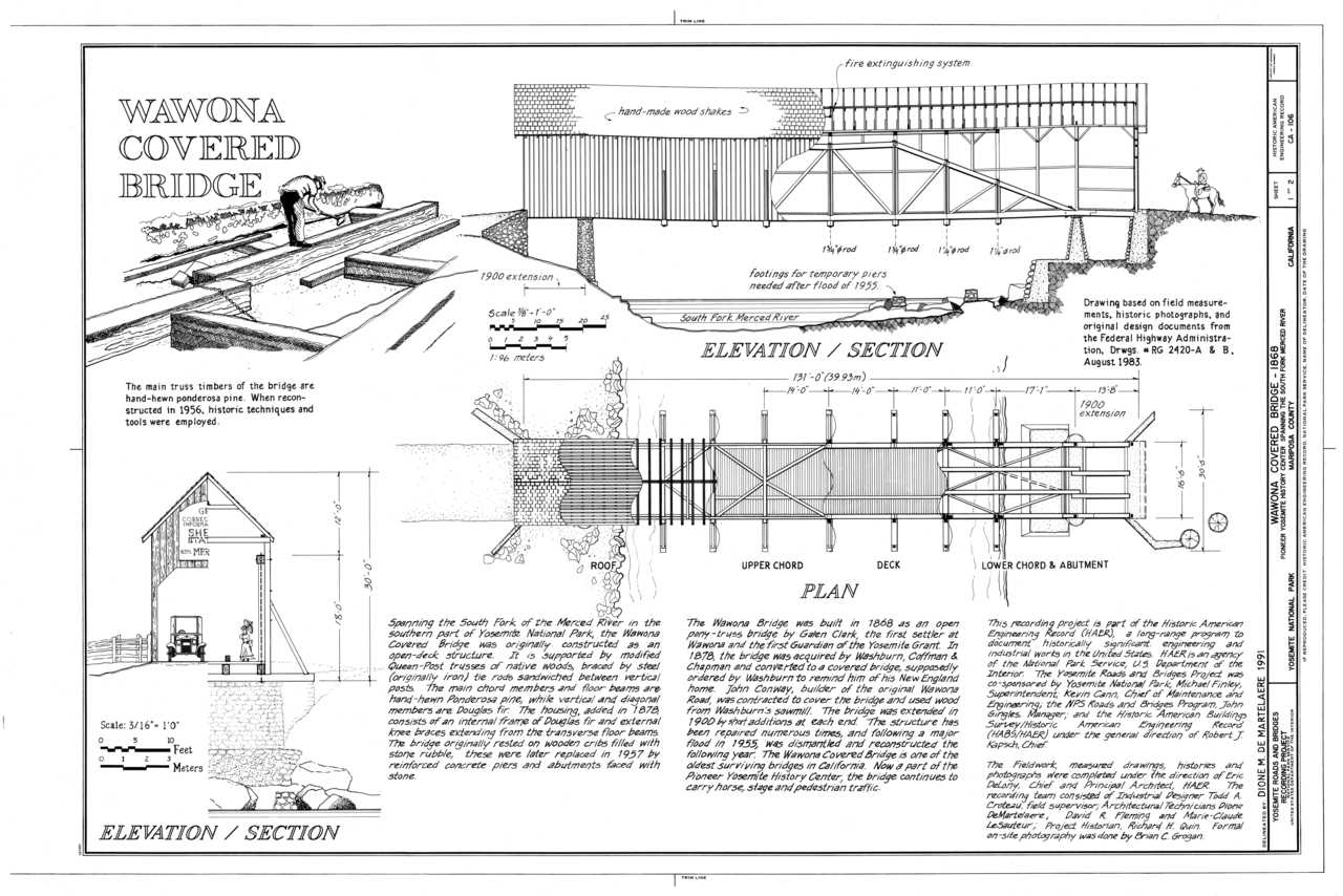 FileWawona Covered Bridge Elevationsection Plan