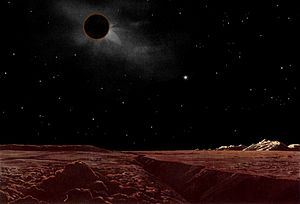 Lunar eclipse seen from the Moon
