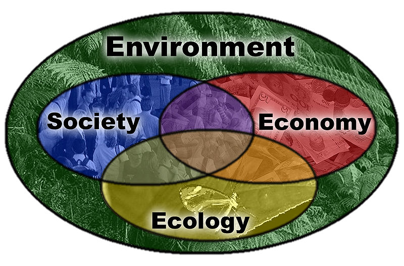 Ecology Society Economy diagram Environment background