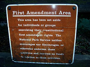 "A ""First Amendment Area"" at Muir Woo..."
