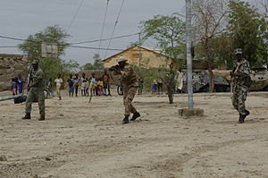 Members of the Malian army conduct drills to i...