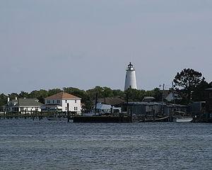 Ocracoke Island Lighthouse from across Silver ...