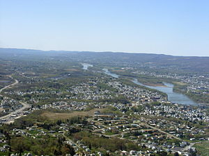 Pittston City Aerial view. Downtown is seen in...