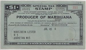 United States Special Tax Stamp -- Producer of...