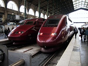 Thalys trains with service to Belgium, the Net...