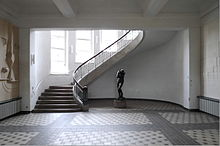 Foyer Of The Former Art School Today The Main Building Of The Bauhaus Universitat With An Art Nouveau Free Winding Staircase And Auguste Rodins Eva At
