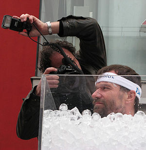 Iceman Wim Hof in an ice bath in 2007.