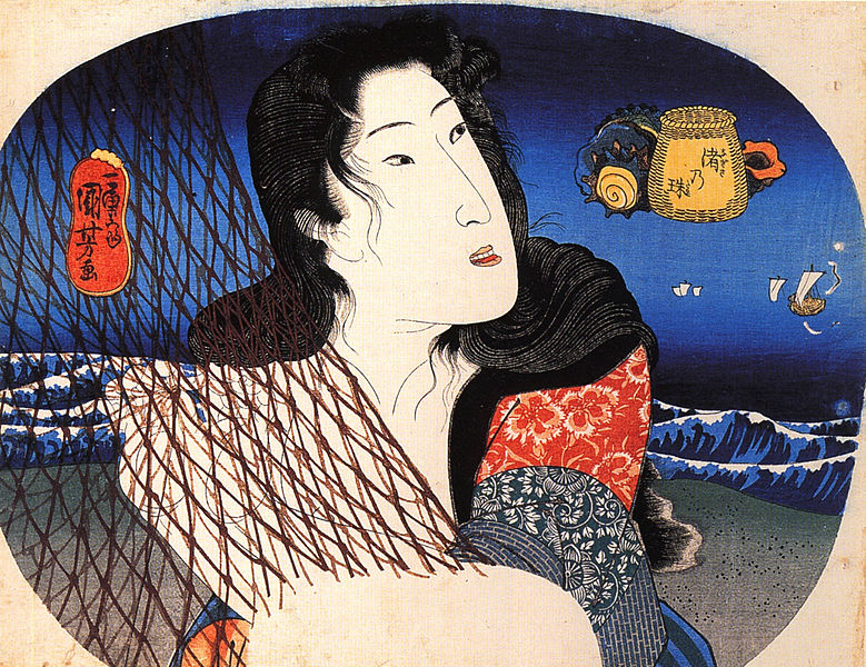 File:Woman mending a fish net.jpg