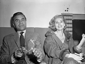 Actress Zsa Zsa Gabor with playboy Porfirio Rubirosa Ariza, circa 1954