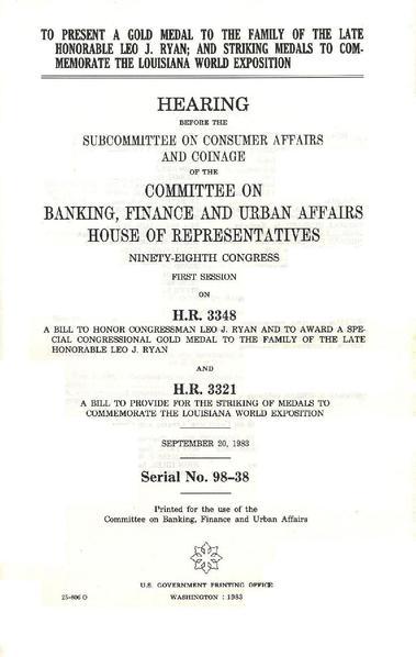 File 1983 Leo J Ryan Congressional Gold Medal Bill Pdf