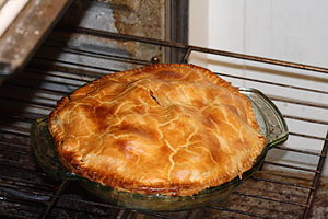 A fresh apple pie made from scratch