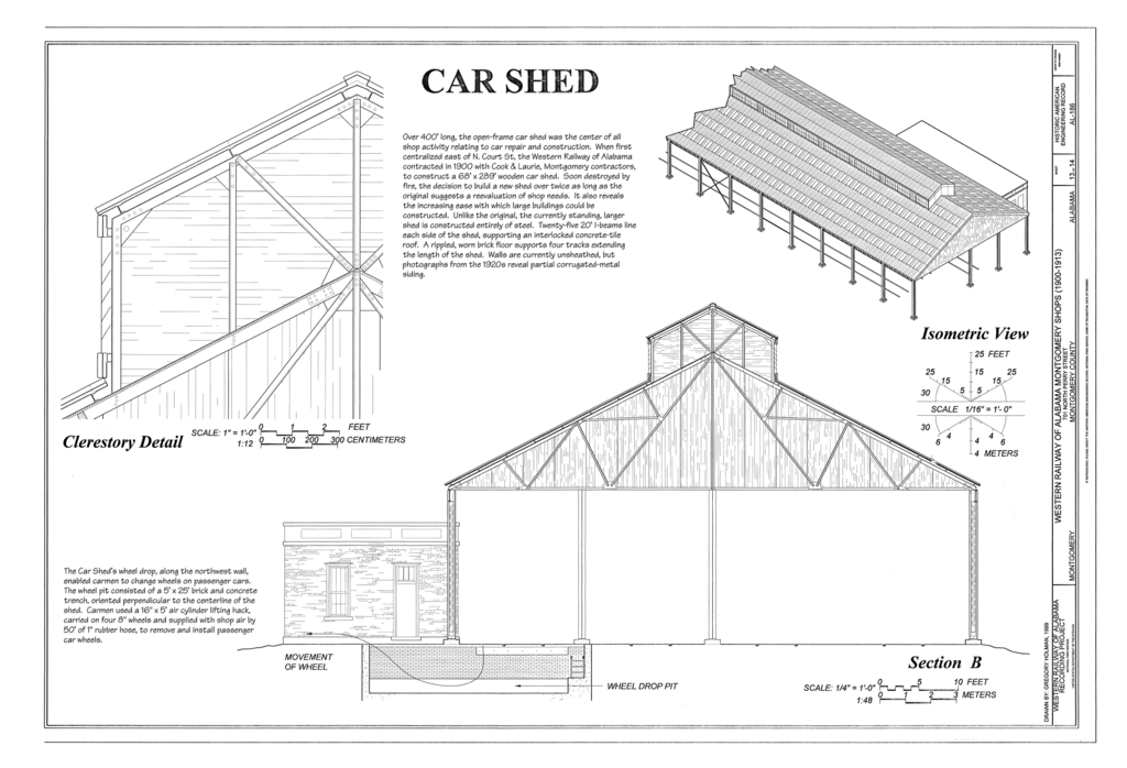 FileCar Shed  Clerestory Detail Section and Isometric