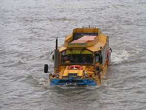 A DUKW on a tour of London, in the Thames just...