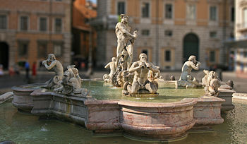 English: Fontana del Moro on Piazza Navona, Rome.