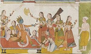 Krishna welcomes Sudama, Bhagavata Purana, 17t...