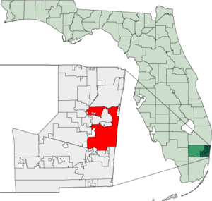 Map of Florida highlighting Fort Lauderdale
