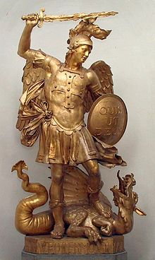 Depiction of the Christianized chaoskampf: statue of Archangel Michael slaying Satan, represented as a dragon. Quis ut Deus? is inscribed on his shield.