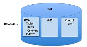 English: Disk structures comprising Oracle dat...