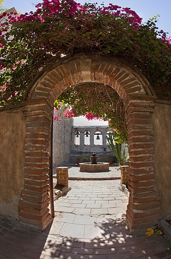 English: The Sacred Garden at Mission San Juan...