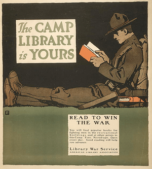"Poster ""The camp library is yours - Read ..."