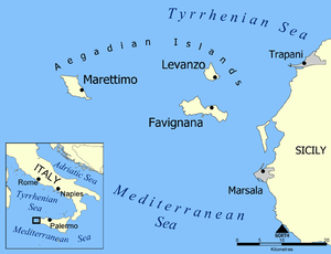 A map showing the Aegadian Islands. Marettimo ...