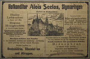 Deutsch: Werbung vom Cafe Seelos in Sigmaringe...
