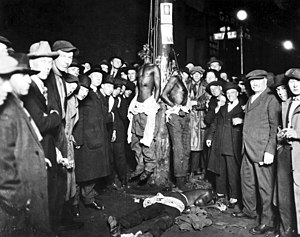 A postcard of a Duluth lynchings, June 15, 1920