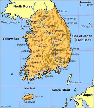 جغرافيا كوريا الجنوبية ويكيبيديا