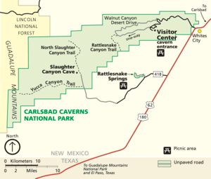 Map of Carlsbad Caverns National Park