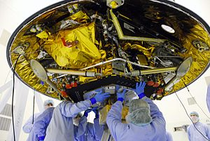 English: Phoenix Mars Lander being worked on b...