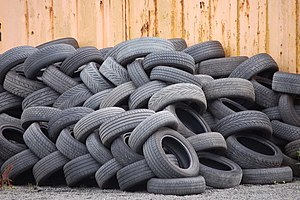 Used tyres (2) At a tyre dealer on Halbeath Ro...