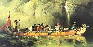 Canoe Manned by Voyageurs Passing a Waterfall ...