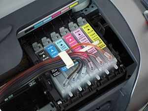 Ink tubes connected to the printer cartridges
