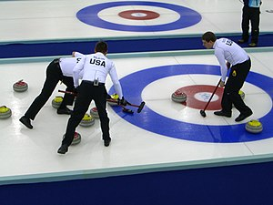 English: The United States curling team at the...