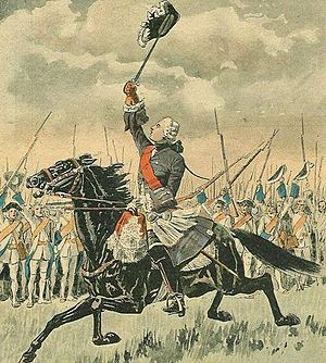 English: The Chevalier de Lévis rallies the Fr...