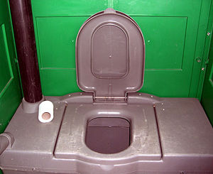 Inside view of a portable toilet.
