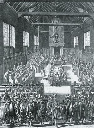 Nederlands: De Dordtse synode (1618). Gravure ...