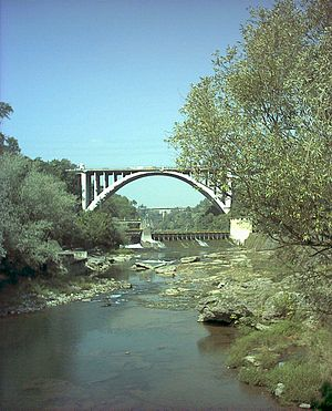 River Adda from Crespi d'Adda, Lombardy, Italy.