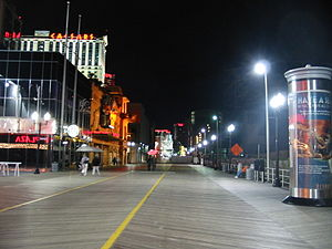 Boardwalk in Atlantic City, New Jersey by night