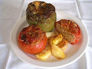 A plate of the popular (summer) greek food Gem...