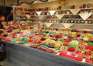 Sweets in La Boqueria market, Barcelona, Spain